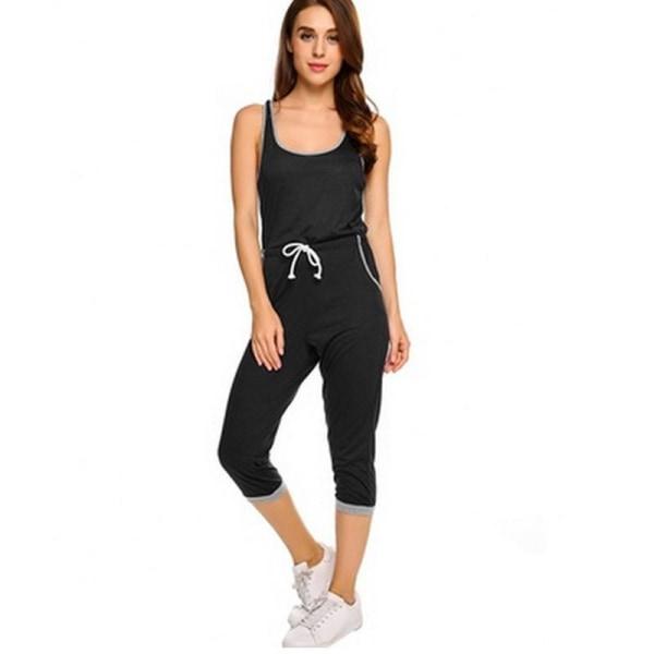 Damärmlös helfärgad jumpsuit Mode jumpsuit black and white M