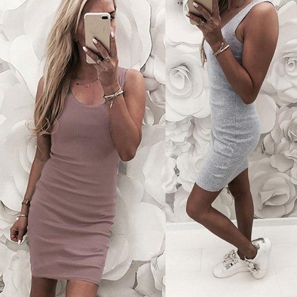 Kvinnor enfärgad rund hals klänning ärmlös