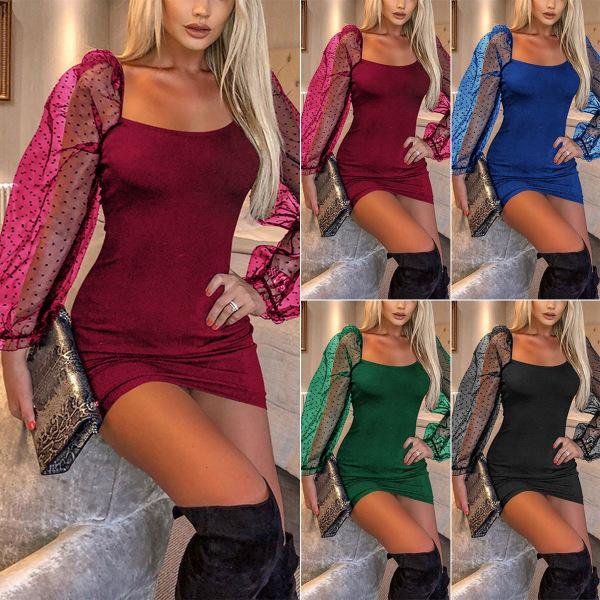 Kvinnors fyrkantiga krage Sheer Lantern Sleeve Sexig klänning