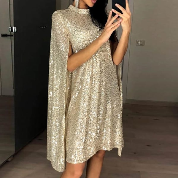 Women Stand-neck Cape Sleeve Sequin Flash Party Club Short Dress Gold XL