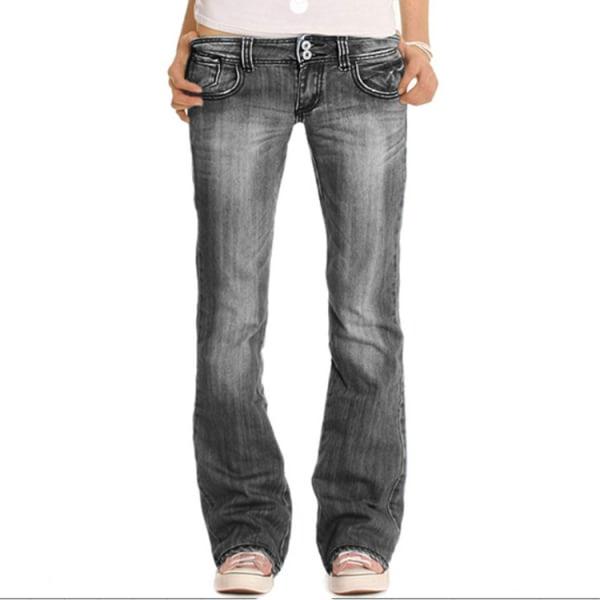 Kvinnor Stretch Slim Fit Flared Byxor Denim Jeans Dam Casual