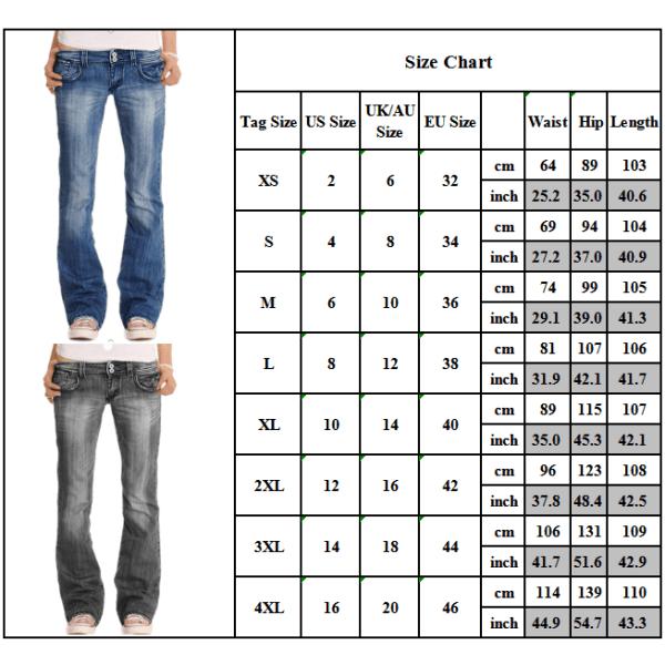 Women Stretch Slim Fit Flared Pants Denim Jeans Ladies Casual Dark Blue 3XL