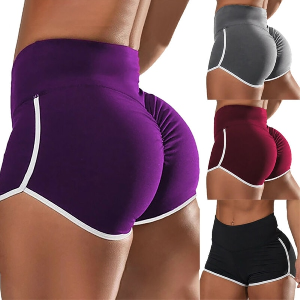 Women Stripe Line Sport Yoga Shorts Gym Running Workout Fitness Red S