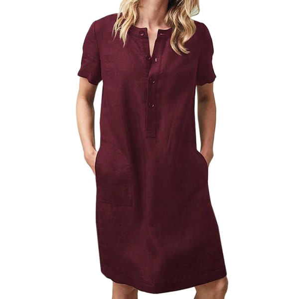 Women Summer Cotton Short Sleeve Loose Casual Pockets Blouse Wine Red L