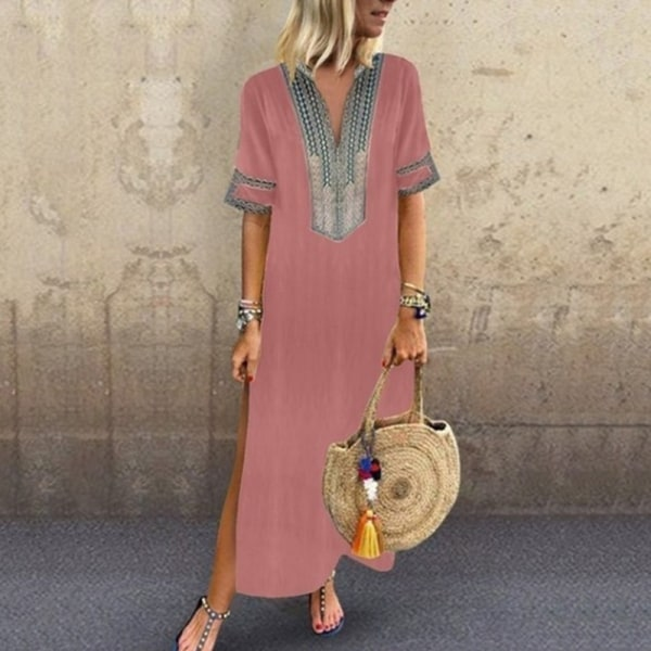 Kvinnor sommar v-ringad casual lång klänning