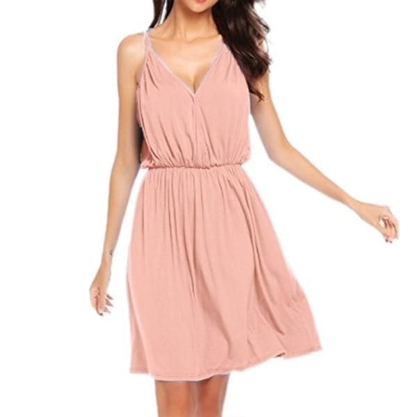 Dam sommar V-ringad klänning med spaghettiband