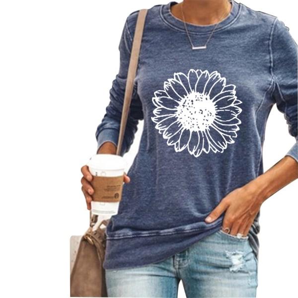 Kvinnor solros långärmad t-shirt toppar höst vinter plus storlek Blue 3XL