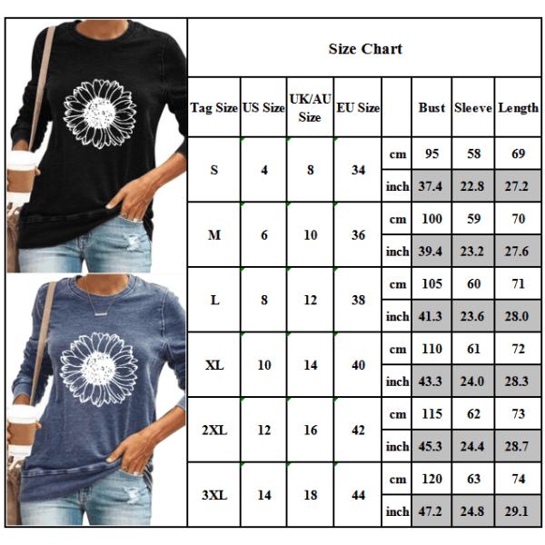 Kvinnor solros långärmad t-shirt toppar höst vinter plus storlek Wine Red 3XL