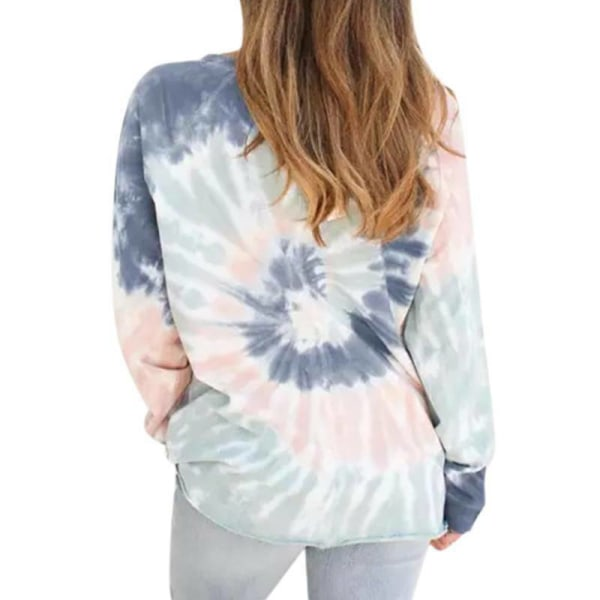 Women Tie Dye Long Sleeve Pullover T-Shirt Light Grey M