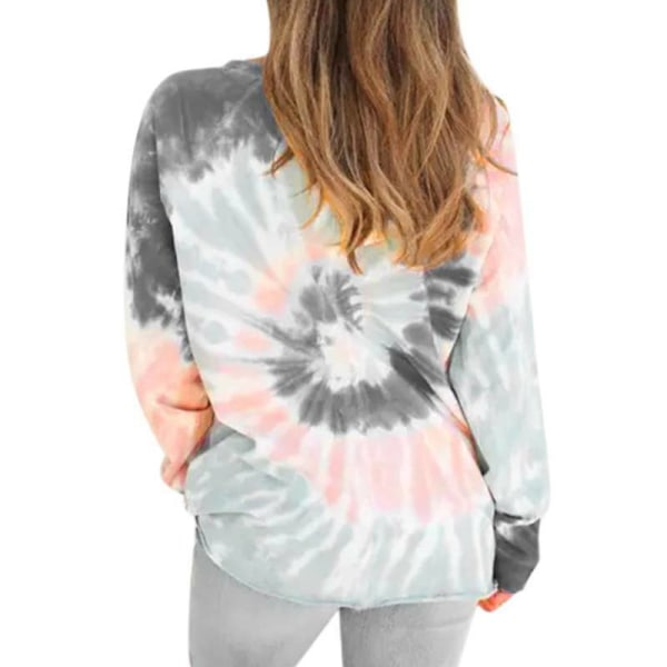 Women Tie Dye Long Sleeve Pullover T-Shirt Red XL