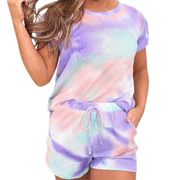 Kvinnor Tie-dye T-shirt Shorts Tvådelad pyjamas hemtjänst