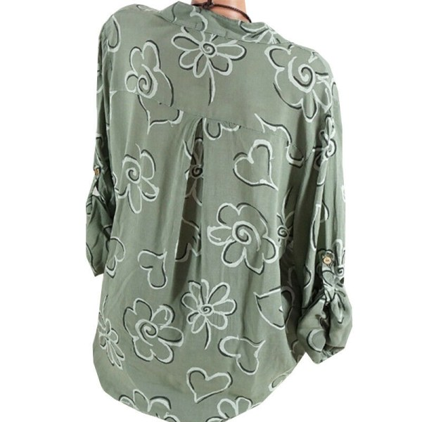 Kvinnors V-ringade blommönstrade skjortor Strand Långärmad lös T-shirt Green M