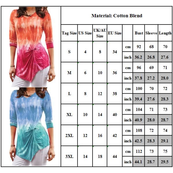 Women V-Neck Tie-dye Long Sleeve Casual Autumn Irregular Tops Brown XL