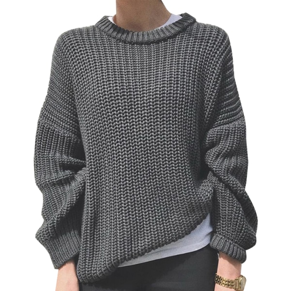 Women Warmer Long Sleeve Chunky Sweater Casual Knit Loose Jumper Grey M