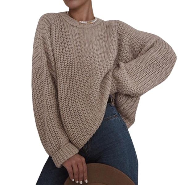 Women Warmer Long Sleeve Chunky Sweater Casual Knit Loose Jumper Khaki XL