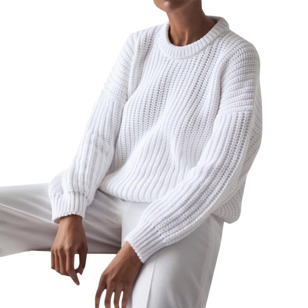 Women Warmer Long Sleeve Chunky Sweater Casual Knit Loose Jumper White XL