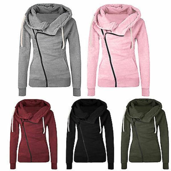 Women Winter Hoodie Coat Zipper Hooded Sweatshirt Plain Outwear Pink L