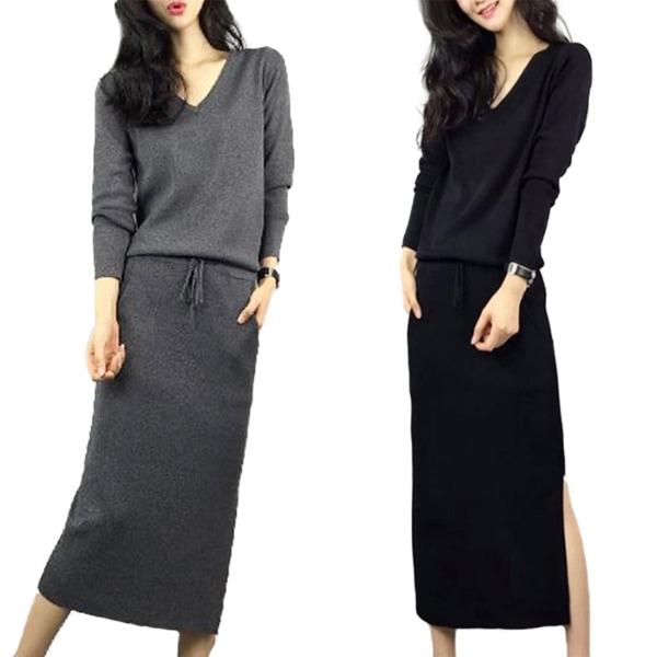 Kvinnor vinter stickad klänning damer casual lång tröja