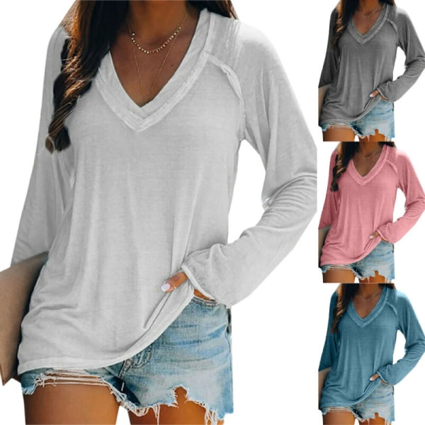 Women Winter Long Sleeve V Neck Casual Loose Tunic Solid T-Shirt Pink L