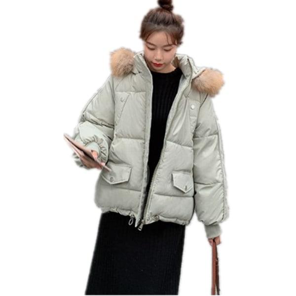 Kvinnor Varm Varm Plain Zip Up Fickor Hooded Puffer Coat Jacket