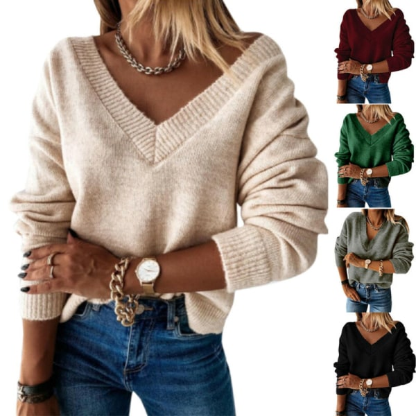 Women Winter Warmer Pullover Sweatshirt V-Neck Cable-Knit Jumper Green L
