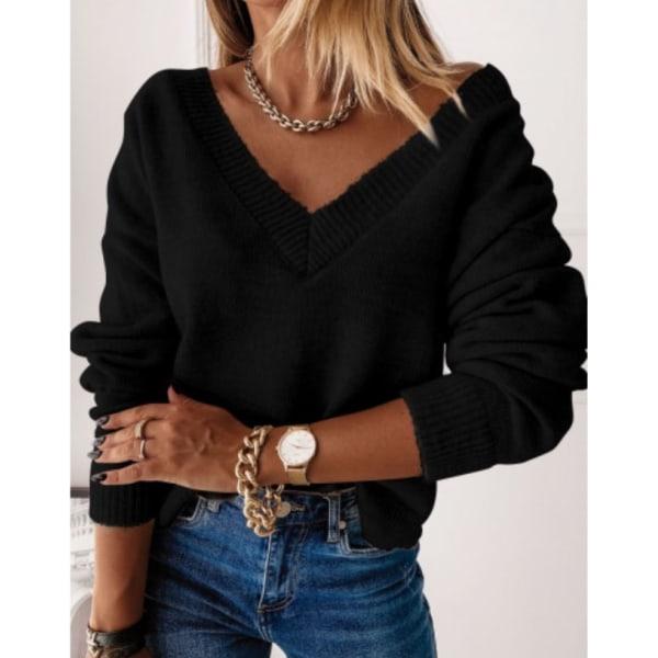 Women Winter Warmer Pullover Sweatshirt V-Neck Cable-Knit Jumper Black L