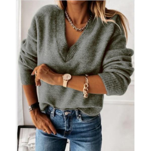 Women Winter Warmer Pullover Sweatshirt V-Neck Cable-Knit Jumper Camel M