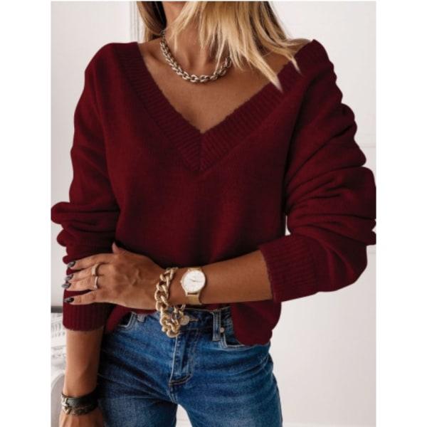 Women Winter Warmer Pullover Sweatshirt V-Neck Cable-Knit Jumper Wine XL