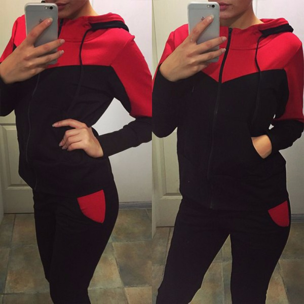 Womens Fashion Witer 2 Piece Sweatsuits Tracksuits Hood Sets Red L