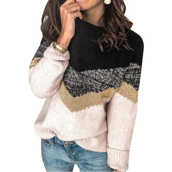 Womens Autumn Blouse Jumper Ladies Round-neck Sweater Pullover Black M