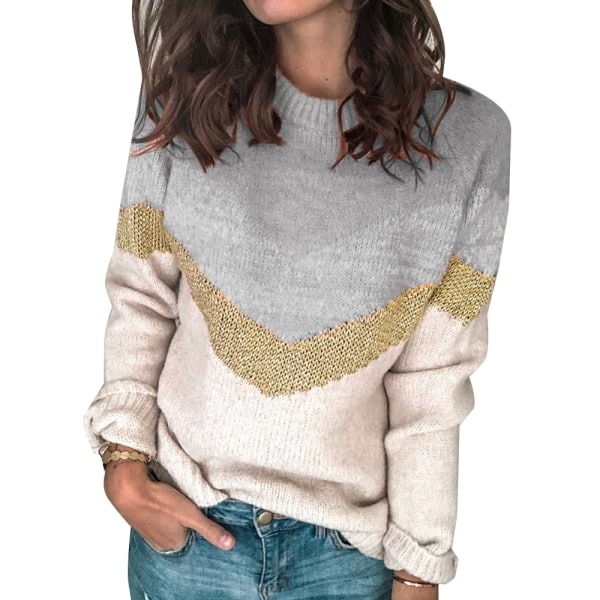 Womens Autumn Blouse Jumper Ladies Round-neck Sweater Pullover Grey 3XL