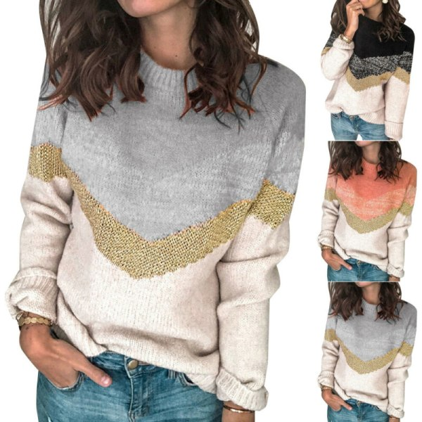 Womens Autumn Blouse Jumper Ladies Round-neck Sweater Pullover Grey S