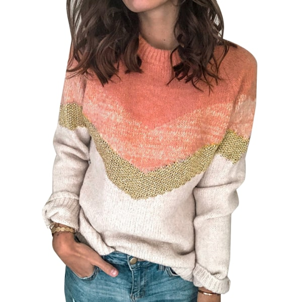 Womens Autumn Blouse Jumper Ladies Round-neck Sweater Pullover Pink S
