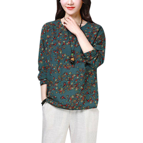 Womens Casual Floral Printed T-Shirts Autumn Baggy Long Sleeve Green 3XL