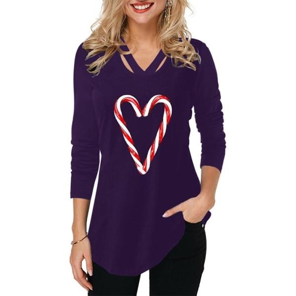 Kvinnors hjärtatryckta unika krage-t-shirts långa