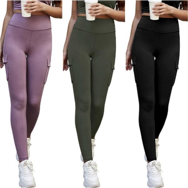 Womens High Waist Gym Leggings Pocket Fitness Sports Yoga Pants Army Green S