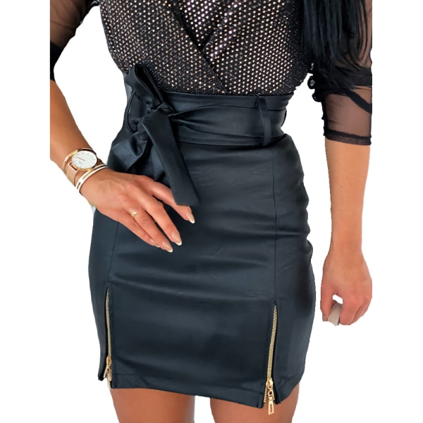 Womens Lace Up High Waisted Skirts Casual Evening Party Sexy Black S