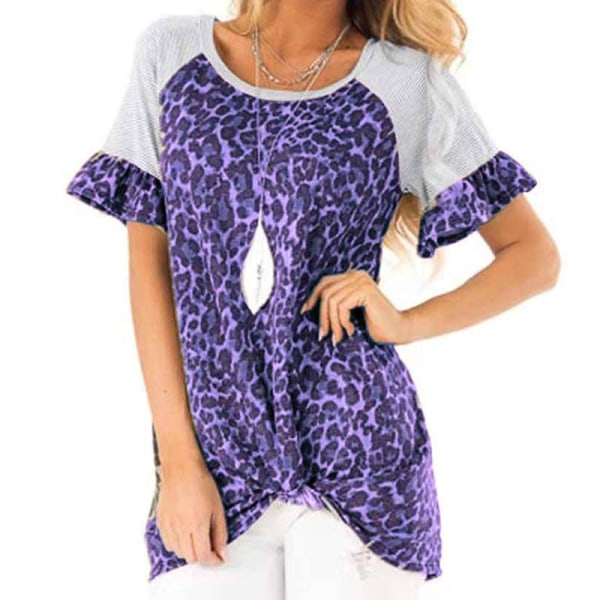 Womens Leopard Patchwork T Shirt Tops Ladies Casual Short Sleeve Blue S