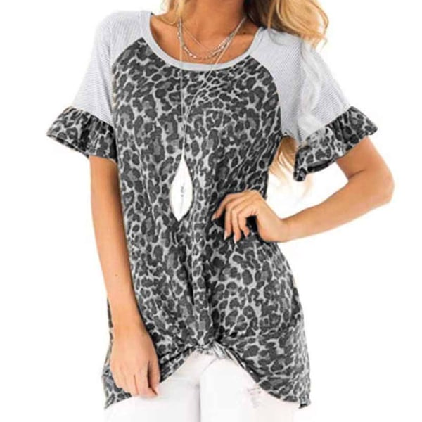 Womens Leopard Patchwork T Shirt Tops Ladies Casual Short Sleeve Grey 2XL