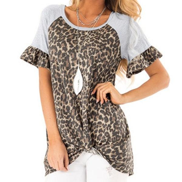 Womens Leopard Patchwork T Shirt Tops Ladies Casual Short Sleeve Khaki M