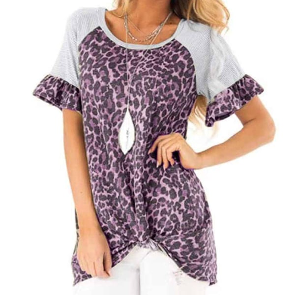 Womens Leopard Patchwork T Shirt Tops Ladies Casual Short Sleeve Purple 2XL