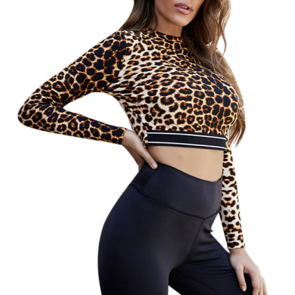 Womens Long Sleeve Cropped Tops Shirts Leopard Print Slim Fit M