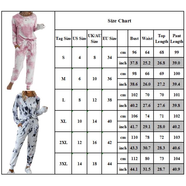 Långärmad T-shirt för kvinnor + Träningsbyxor Lounge Sets Tie Dye Tops