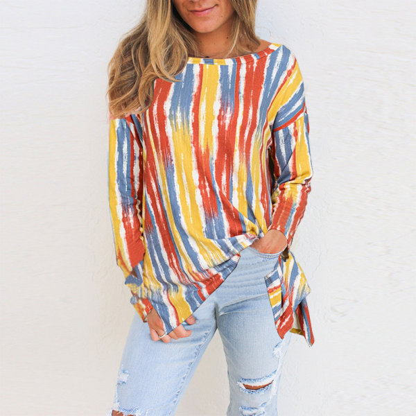 Womens Long Sleeve Tunic Stripe T-Shirt Pullover Tops Casual Yellow S