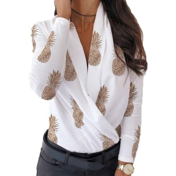 Womens Long Sleeve Wrap V Neck Tops White white L