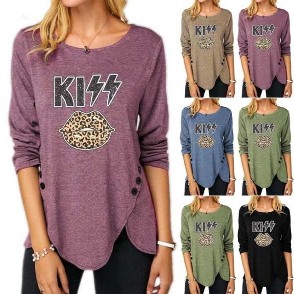 Kvinnors lösa casual långärmad kysstryckt tröja T-shirt