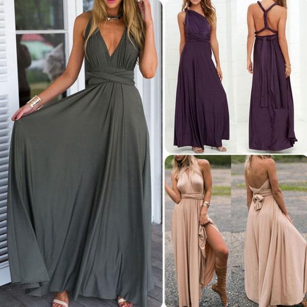 Womens Multiway Bandage Maxi Dress Sleeveless Wrap Robe Champagne L