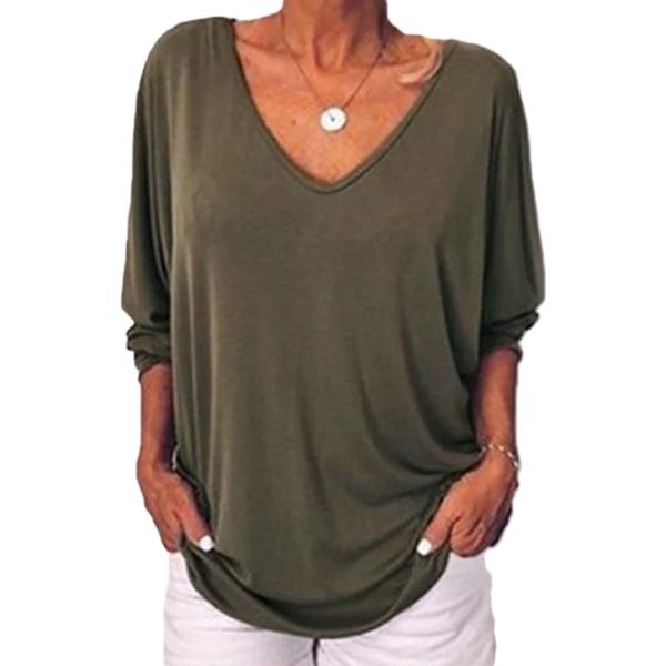 Kvinnors Plain V-hals Baggy T-shirt Långärmad höst Plus Size