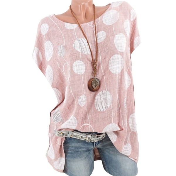 Womens Plus Size Tops and Blouses Wave pink 5XL