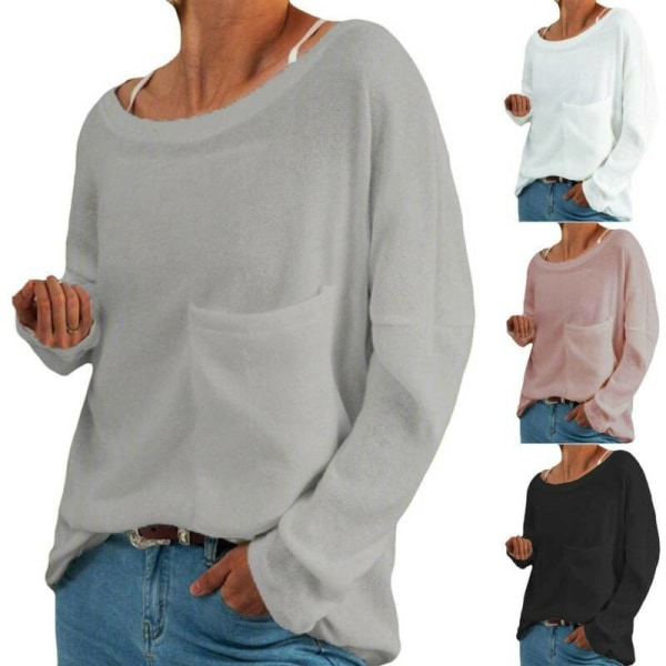Womens Round Neck Casual T-shirt Holiday Solid Long Sleeve Grey L